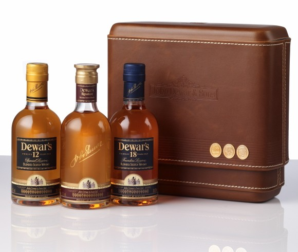 dewars scotch multi bottle gift set with leather case for father s