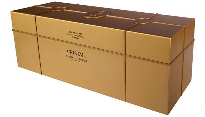 24k Medallion bottle Louis Roederer 2002 Cristal Jeroboam Champagne 03