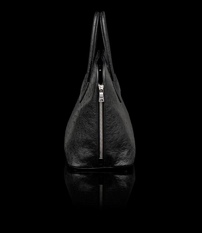 Prada Ostrich Leather Tote in Black 01