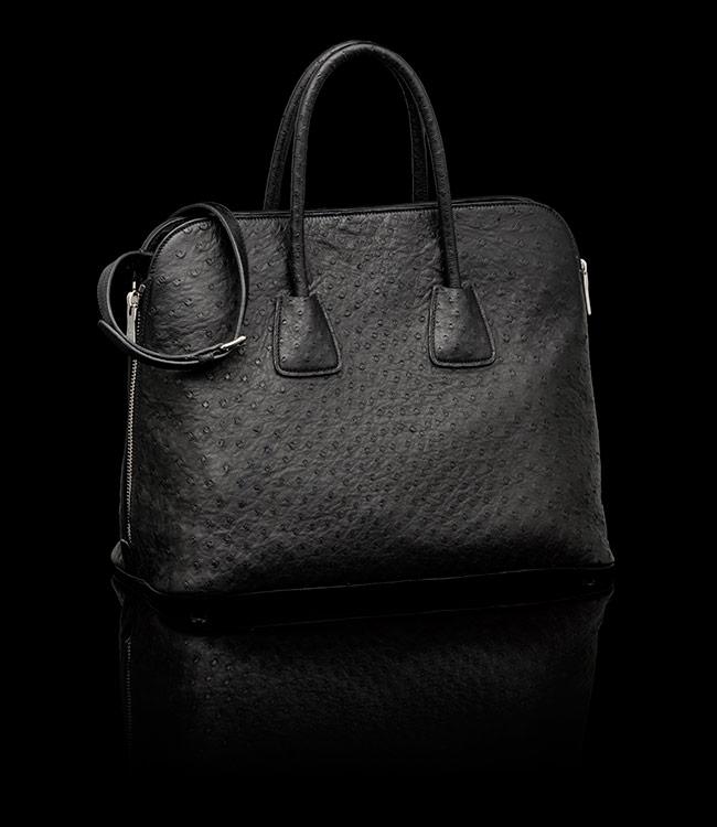 Prada Ostrich Leather Tote in Black 02