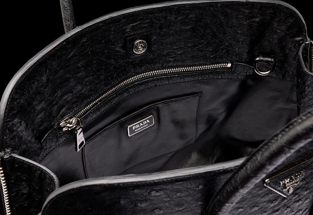 Prada Ostrich Leather Tote in Black 03