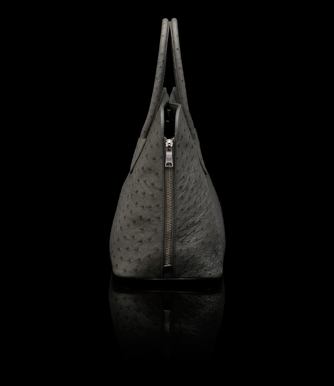 Prada Ostrich Leather Tote in Marble 01