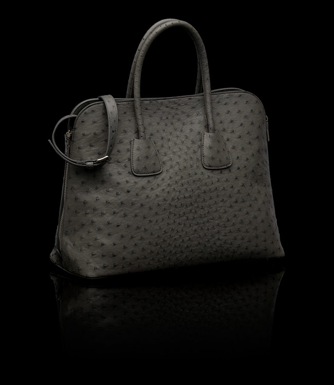 Prada Ostrich Leather Tote in Marble 02