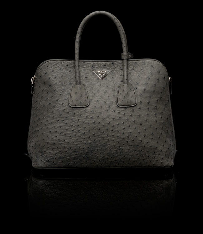 Prada Ostrich Leather Tote in Marble