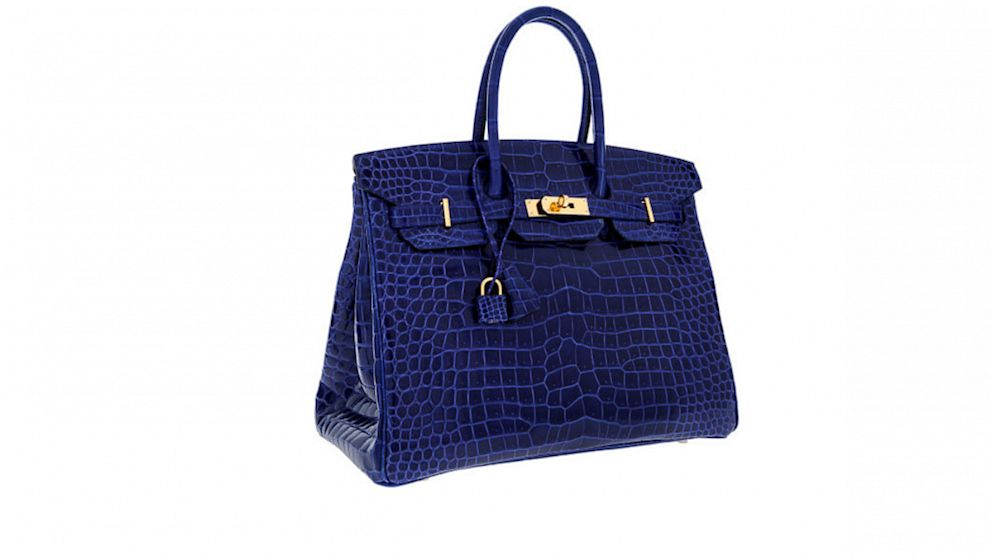 35cm Shiny Blue Electric & Indigo Porosus Crocodile Birkin Bag with Gold Hardware