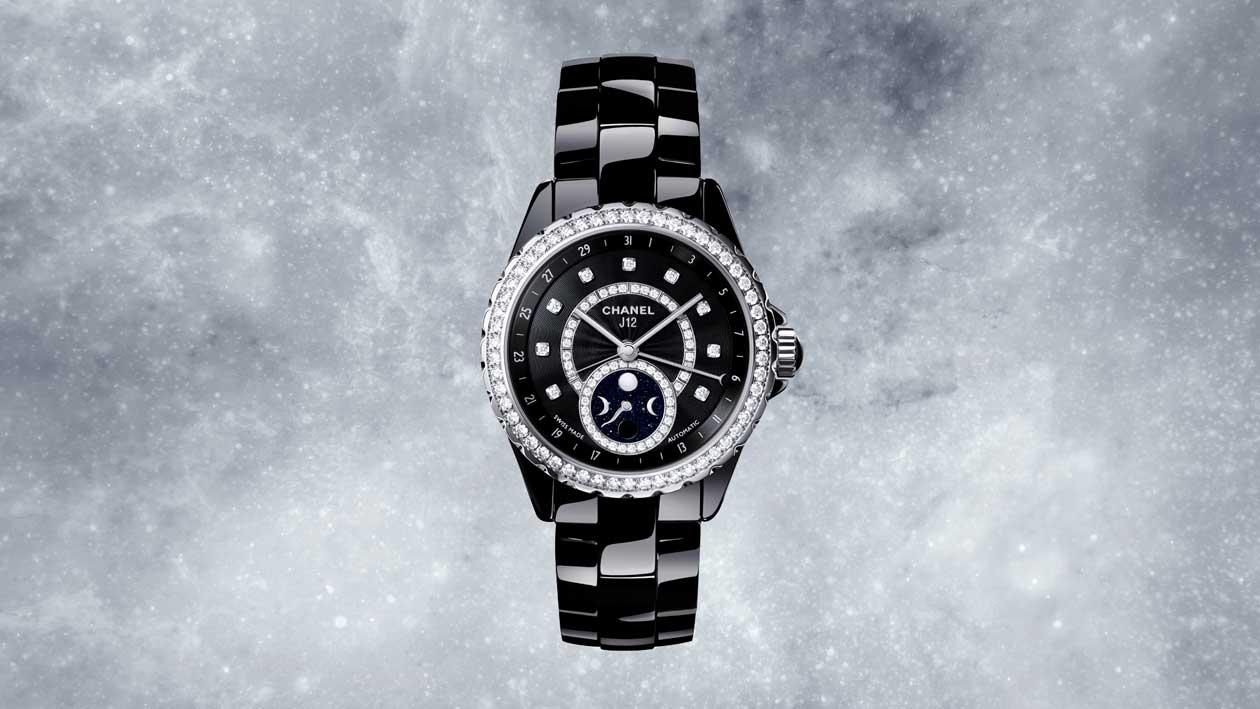 Chanel J12 Moonphase watch in black ceramic with diamonds bezel