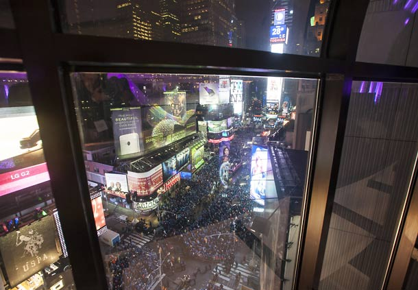 Direct view of Times Square's Ball Drop New York Marriott Marquis