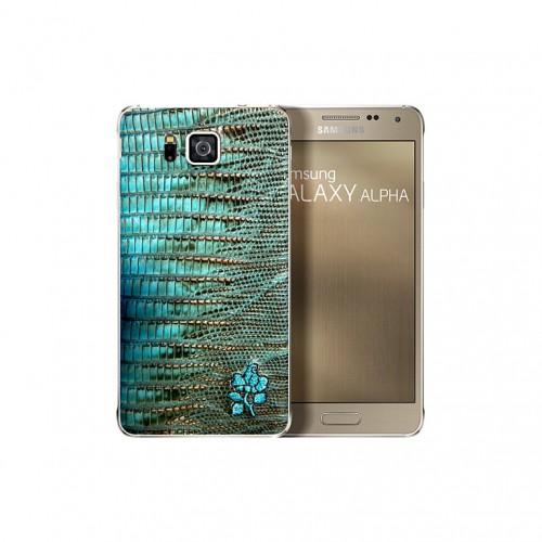 Samsung Galaxy Alpha Alligator Leather back Cover 01