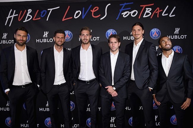 NEW YORK, NY - JULY 22:  Salvatore Sirigu, Thiago Motta, Kevin Trapp, Maxwell, Zlatan Ibrahimovic and Lucas Moura attend the launch of Hublot's latest timepiece with Paris Saint-Germain Team and celebrates partnership In New York City on July 22, 2015 in New York City.  (Photo by Mike Coppola/Getty Images for Hublot)